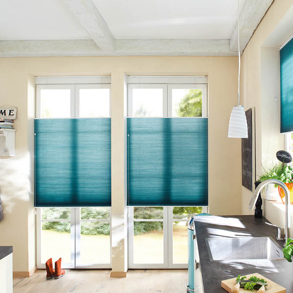 Duette® window blinds from Shutterstyle in turquoise
